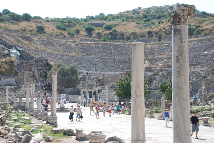 An image of the Great Theatre of Ephesus as seen on a private tour.