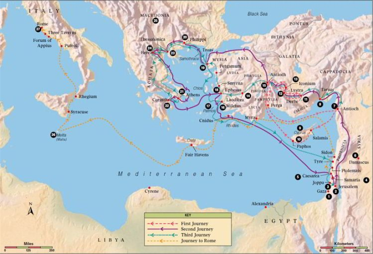 An image of the missions of the Apostle Paul.