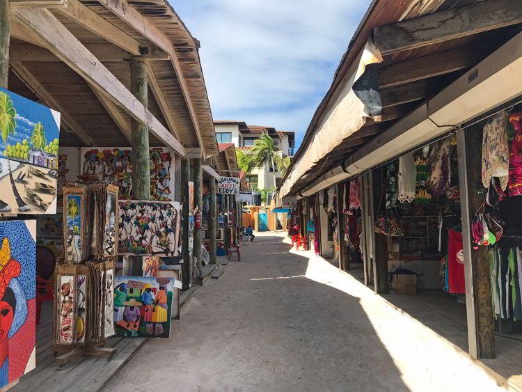 An image of the shopping area on Bavaro Beach next to the Lopesan Costa Bavaro Resort in Punta Cana, Dominican Republic.