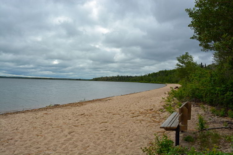 An image of the beach at Sir Winston Churchill Provincial Park in Alberta, Canada.