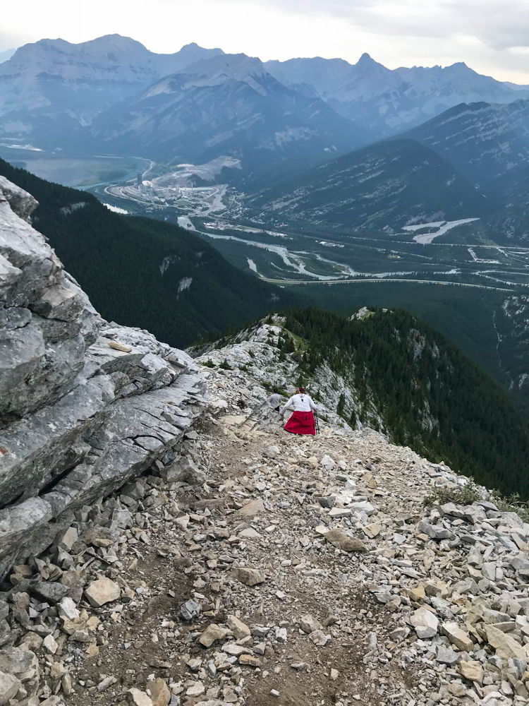 An image of the steep scramble down from the Heart Mountain Horseshoe trail near Canmore, Alberta.
