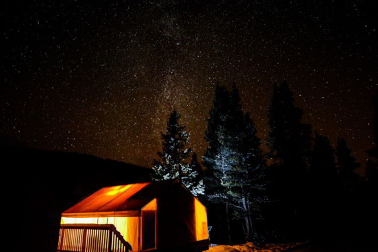 An image of a glamping tent at Mount Engadine Lodge in Kananaskis - Glamping in Alberta, Canada.