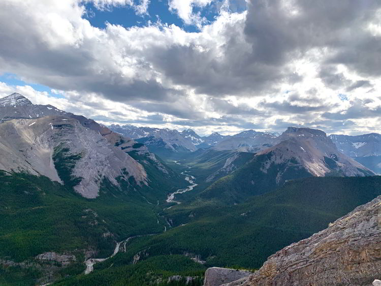 An image of the view from the top of Nihahi Ridge in Kananaskis Country in Alberta, Canada.