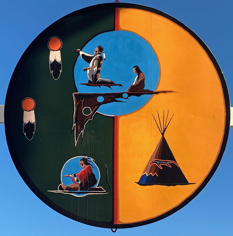 An image of a mural inside the Saamis Tepee in Medicine Hat, Alberta, Canada. World's largest tepee.