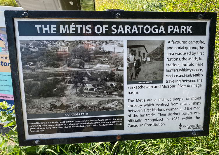 An image of an interpretive sign at Saratoga Park in Medicine Hat, Alberta, Canada.