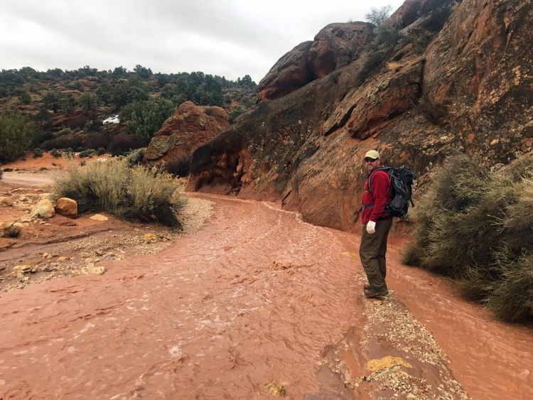An image of a hiker in Coyote Buttes North Wilderness Area in Utah, USA.