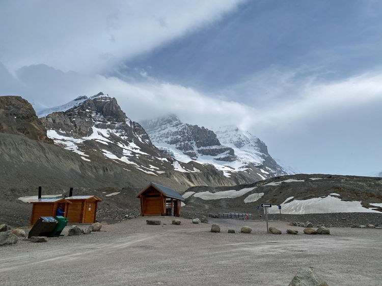 An image of the bathrooms and trailhead near the toe of the Athabasca Glacier in Jasper National Park in Alberta, Canada.