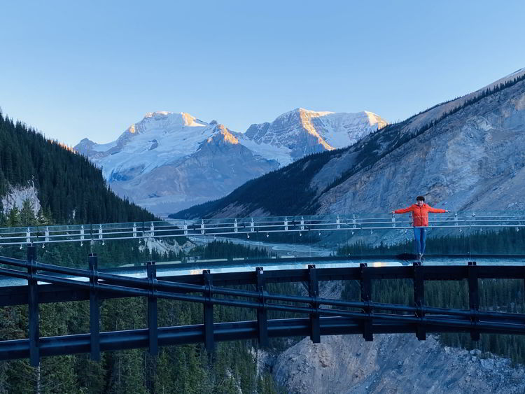 An image of a woman standing on the Glacier Skywalk in Jasper National Park, Alberta, Canada.