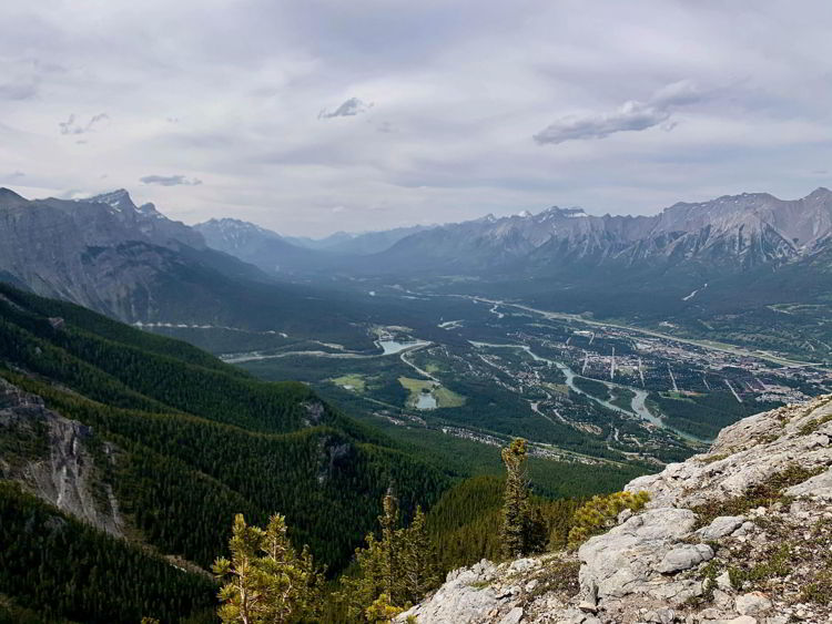 An image of the view from the top of the Grassi Knob hike in Kananaskis, Alberta, Canada.