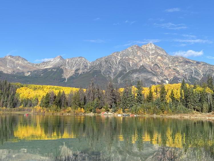 An image of Patricia Lake in autumn in Jasper National Park in Alberta, Canada.