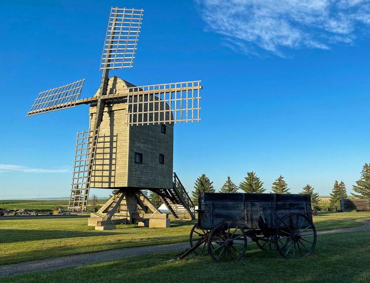 An image of the Etzikom Windmill Museum near Medicine Hat, Alberta, Canada.
