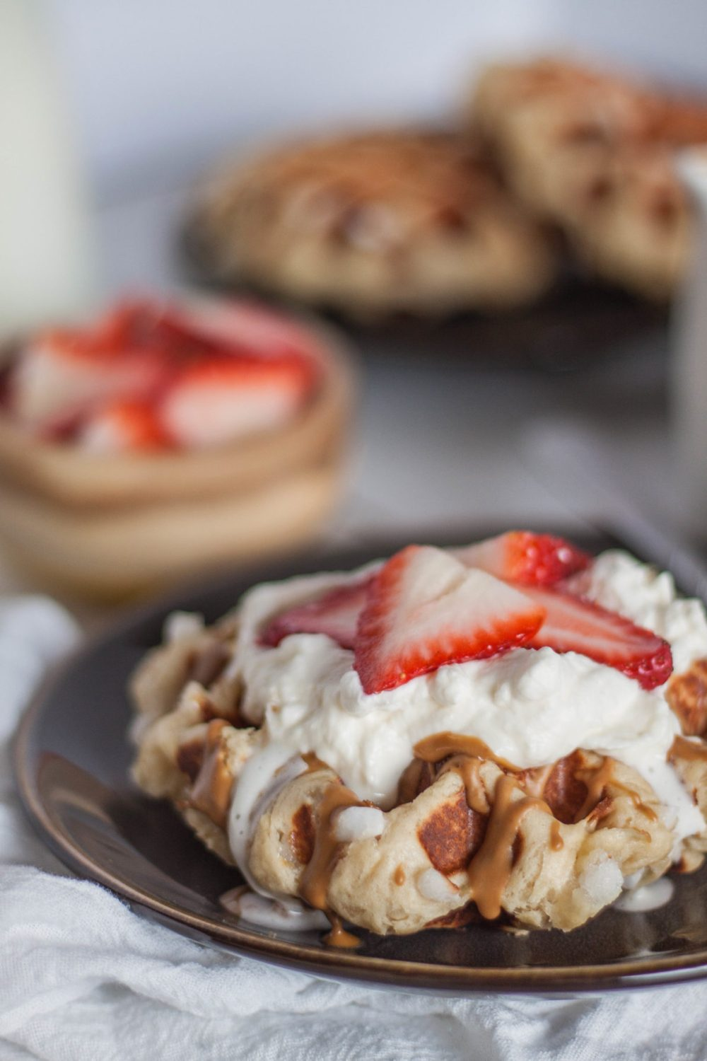 Nothing's better than Belgian Liege Waffles with Cookie Butter! These waffles are perfect for breakfast and dessert, plus they are easy to whip up.