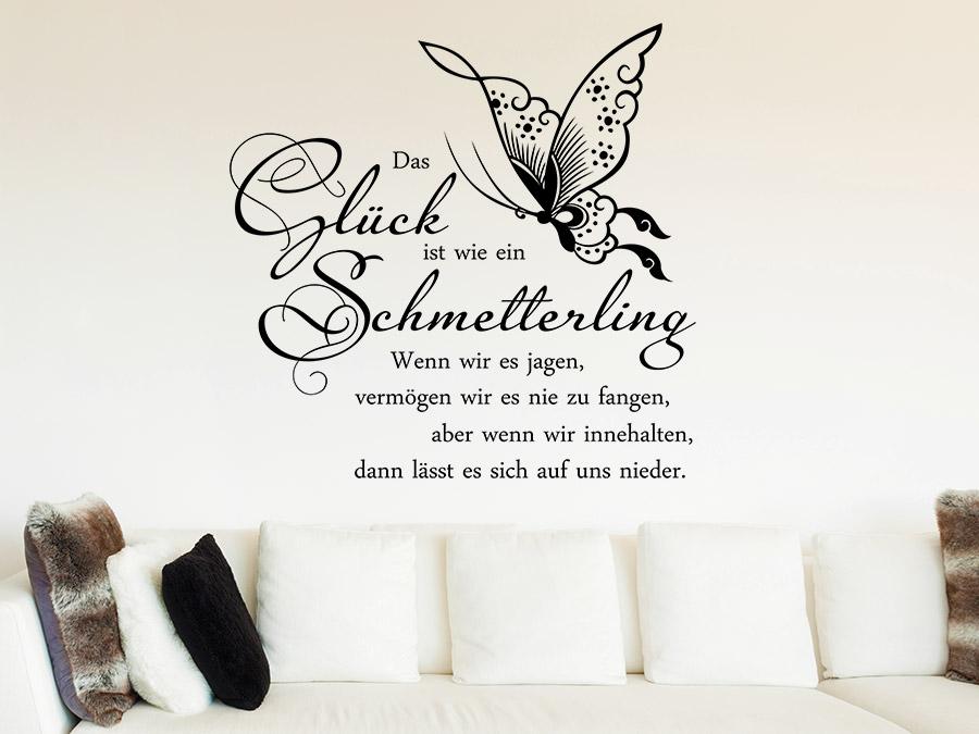 Wandtattoo Gluck Ist Wie Ein Schmetterling