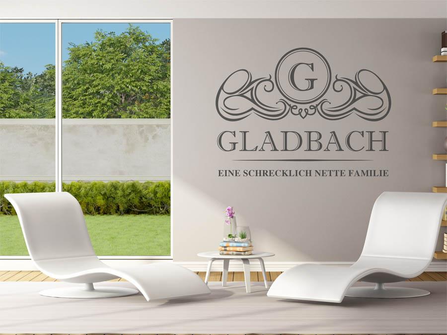 wandtattoo gladbach als monogramm turschild oder familienwappen