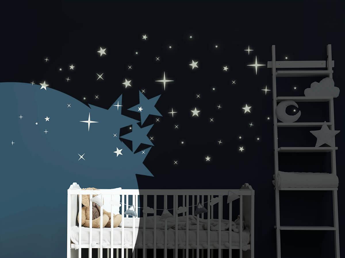 Wandtattoo Leuchtende Sterne Leuchtfolie