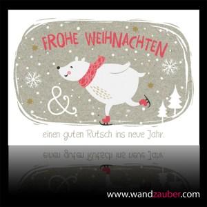 wandzauber-postkarte-weihnachten Bär Schlittschuh guten Rutsch
