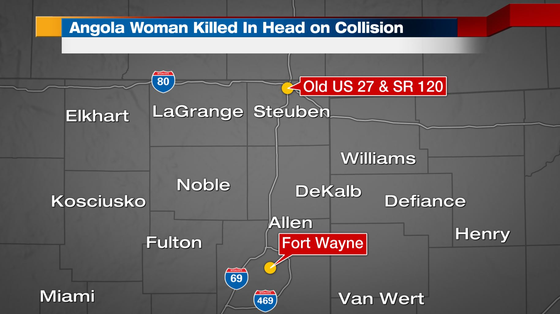 Angola Woman Dead In Head On Collision - Old-us-27-map