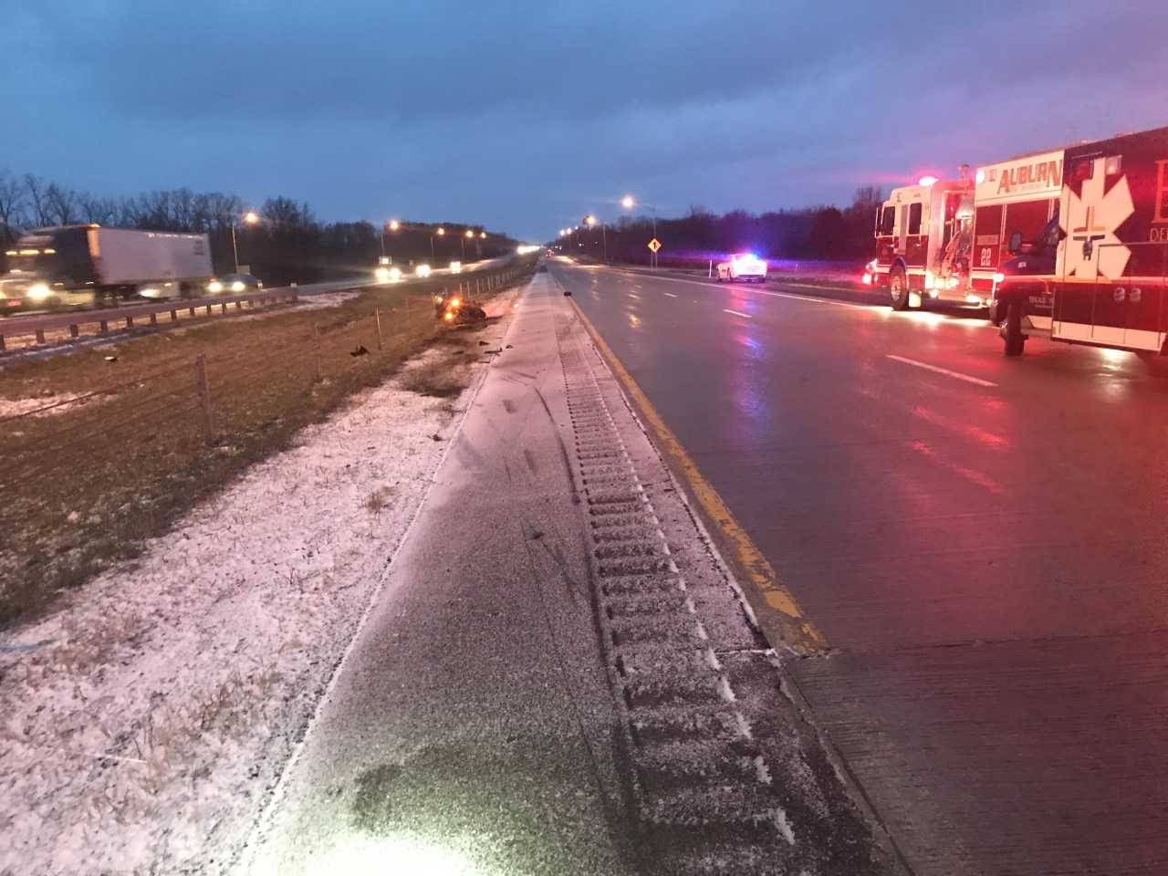 69 motorcycle crash icy road