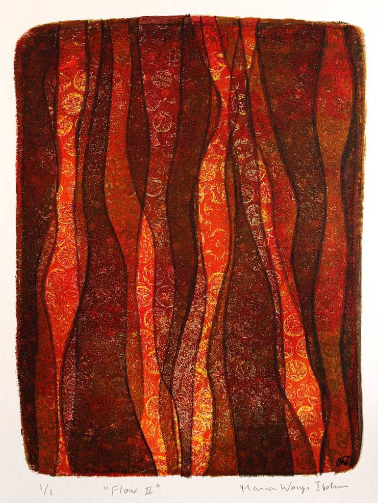 Flow II, monotypi, blandteknik, 15x20 cm. ©Maria Wangi Ibohm