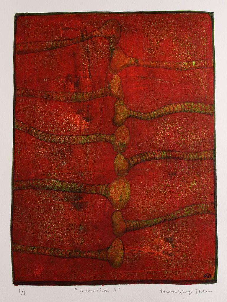 Interaction II, monotypi, blandteknik, 20x26,5 cm. ©Maria Wangi Ibohm