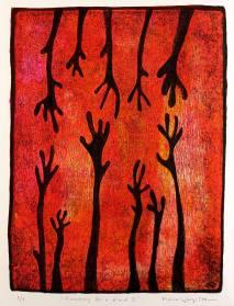 Reaching for a friend II, monotypi, blandteknik, 20x26,5 cm. ©Maria Wangi Ibohm