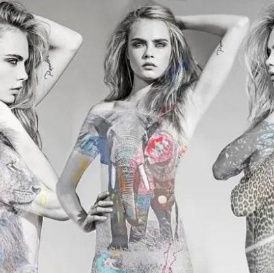 Model Cara Delevingne Pose Tanpa Seurat Benang Untuk Muka Depan Majalah