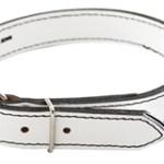 honden halsband gestikt wit leer