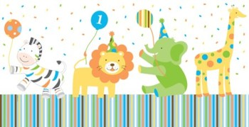 """Sweet at 1 Birthday Boy Plastic Tablecover - 54"""" x 108""""-0"""