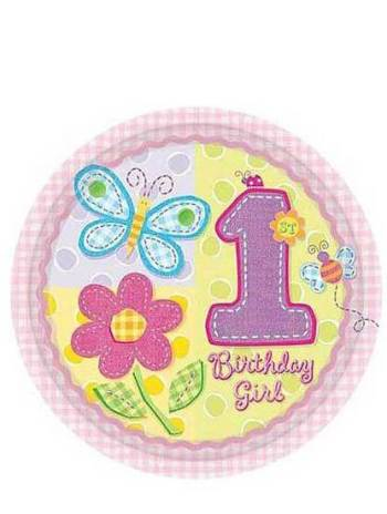 """Hugs & Stitches Girl Paper Plates 10.5"""" - 8ct-0"""