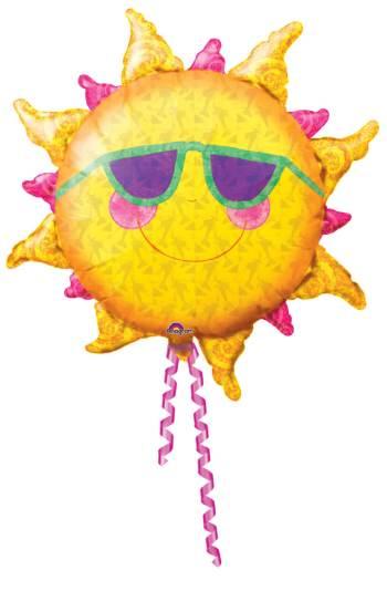 Foil Smiling Sun Balloon 35in P35-0