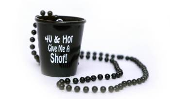 """""""40 & Hot, Give Me a Shot"""" Necklace Shot Glass 20in-0"""