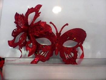 Glitter Butterfly Eye Mask Red-0