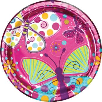 """Butterfly Sparkle Paper Plates 9"""" - 8CT-0"""