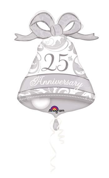 "Silver Elegant 25th Anniversary Bell 27"" P30-0"