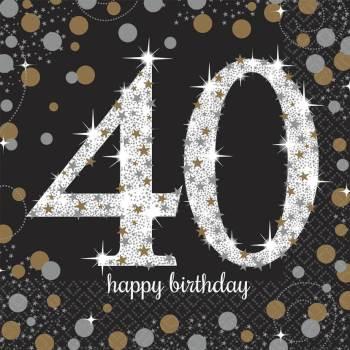 Sparkling Celebration 40th Birthday Lunch Napkins - 16PC-0