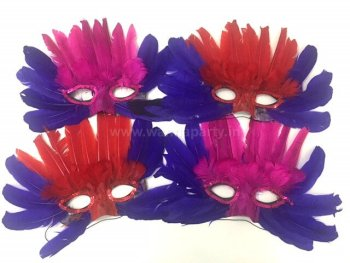 Feather Masquerade Mask - 4PC-0