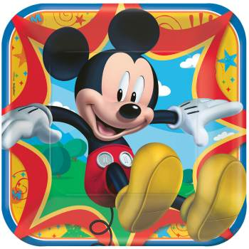 "Mickey Mouse Square Lunch Plates 9"" - 8PC-0"