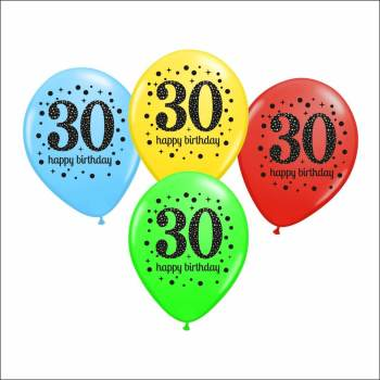 30th Birthday Printed Balloons - 15PC-0
