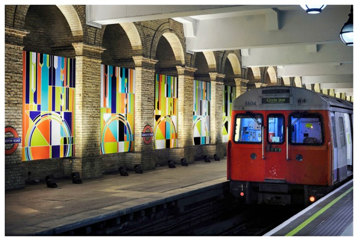 Sarah Morris Wall Painting London Underground Big Ben Art