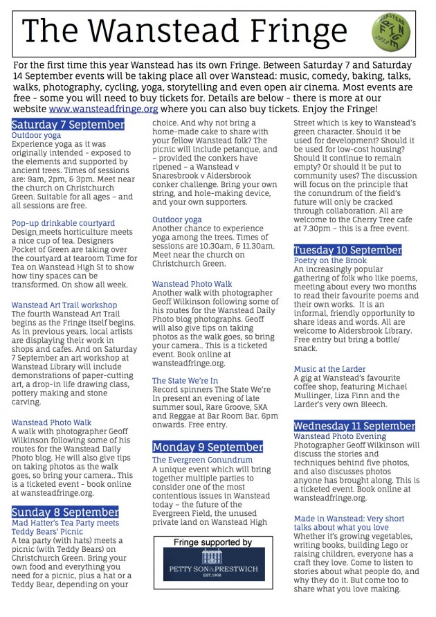 Fringe programme