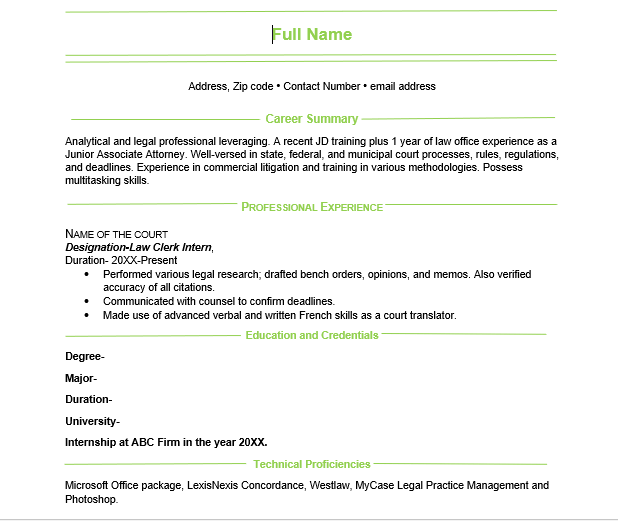 Pin Stripe Resume Format