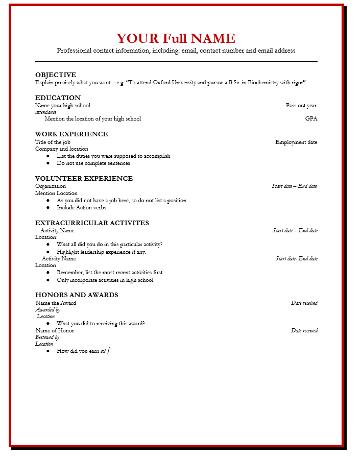 Resume for high school student pdf