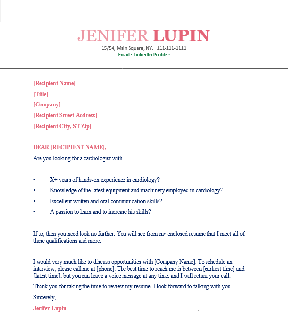 Cardiologist Cover Letter sample 1