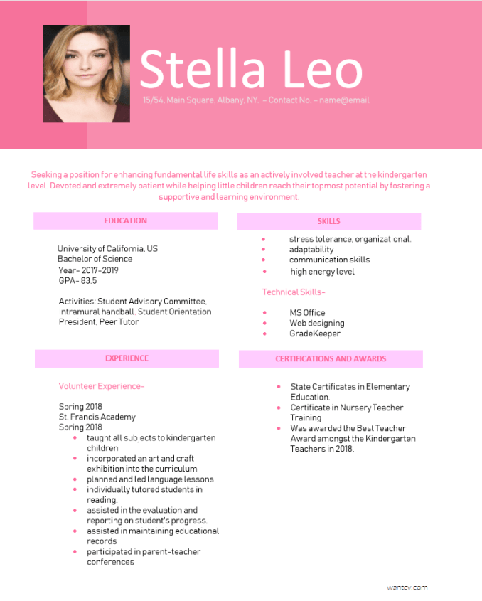 Feminine Pink Resume Template