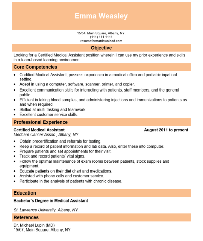Resume Format For Physician Assistant