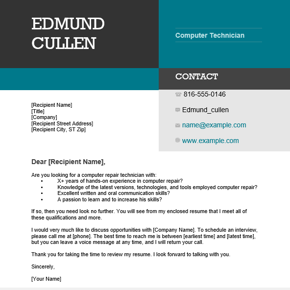 Computer Technician Cover Letter Sample