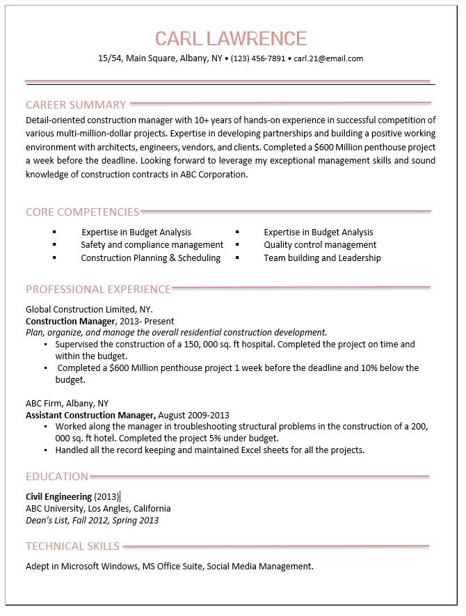 Best Construction Manager Resume Sample & Tips - Wantcv.com