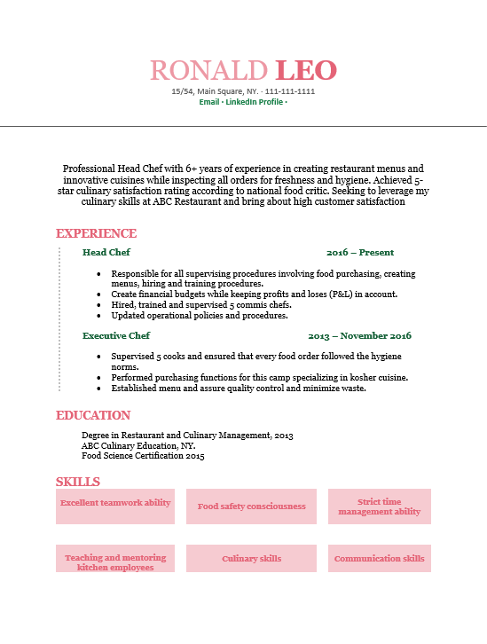 resume for head chef position