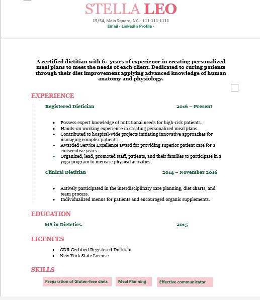 Registered Dieitian resume