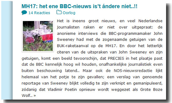BBC nieuws MH17